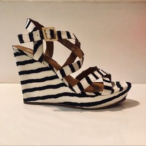 BP. Navy & White Striped Wedges   Size 7M